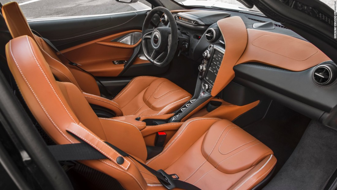 The interior, with leather extended dashboard, rear luggage and upper environment, is McLaren's most luxurious yet.
