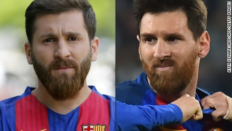 (COMBO) This combination of pictures created on May 08, 2017 shows (L) Reza Parastesh, a doppelganger of Barcelona and Argentina's footballer Lionel Messi, poses for a picture in a street in Tehran on May 8, 2017, and (R) Barcelona's Argentinian forward Lionel Messi reactimg during the UEFA Champions League quarter final first leg football match Juventus vs Barcelona, on April 11, 2017 at the Juventus stadium in Turin.   / AFP PHOTO / Atta KENARE AND Giuseppe CACACE        (Photo credit should read ATTA KENARE,GIUSEPPE CACACE/AFP/Getty Images)
