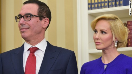 U.S. Treasury Secretary Steven Mnuchin and fiance Louise Linton