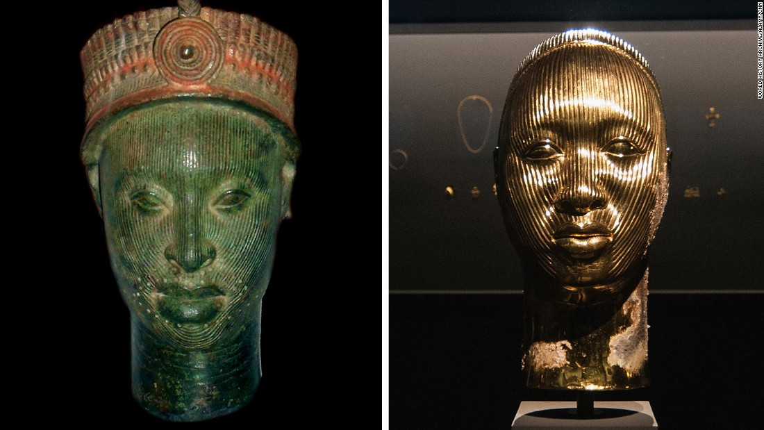 Left, a cast brass head with red pigment, a Ife head of the Yoruba people, Nigeria dating from the 12-15th century. On the right a sculpture by Damien Hirst.