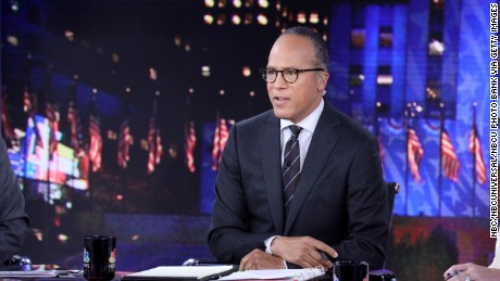 "NBC NEWS - ELECTION COVERAGE -- Election Night 2016 -- Pictured: Lester Holt, Anchor, ""NBC Nightly News with Lester Holt"" on Tuesday, November 8, 2016 in New York -- (Photo by: Heidi Gutman/NBC/NBCU Photo Bank via Getty Images)"