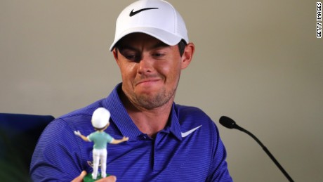 Ahead of the Players Championship at Sawgrass, Rory McIlroy was presented with a likeness in honor of winning last year's Fed Ex Cup.
