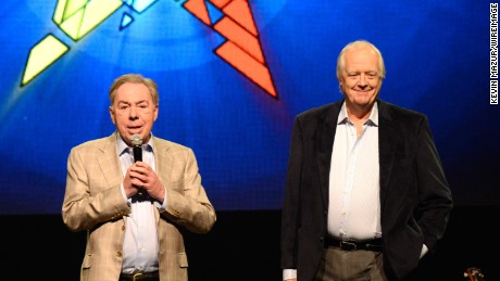 Andrew Lloyd Webber and Tim Rice speak onstage during the press conference for Jesus Christ Superstar Arena Rock Spectacular at Hammerstein Ballroom on April 4, 2014 in New York City.