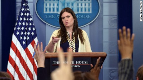 Deputy White House press secretary Sarah Huckabee Sanders takes questions from members of the media during the daily briefing at the White House in Washington, Wednesday, May 10, 2017. Sanders was asked about the firing of FBI Director James Comey, President Donald Trump's meeting with Russian Foreign Minister Sergey Lavrov and other topics. (AP Photo/Susan Walsh)