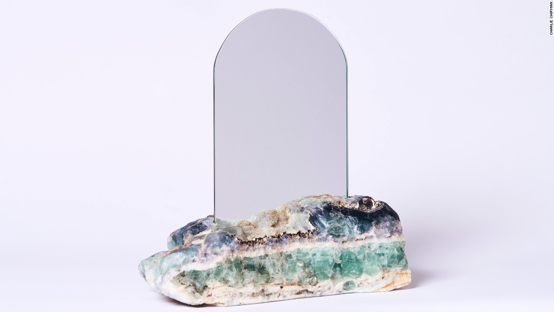 At Sight Unseen OFFSITE, Ring is presenting her debut collection of furniture and objects, including mirrors crafted with semi-precious stones.
