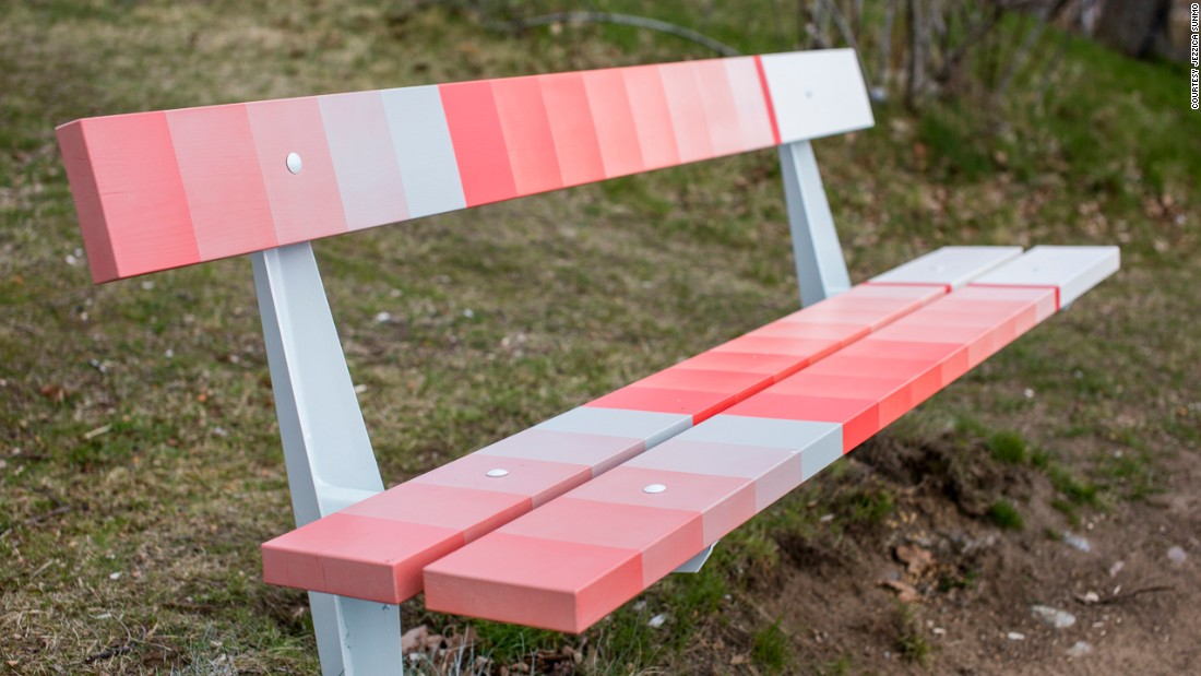 Five of the park's existing benches were refurbished by Dutch studio Scholten & Baijings, which worked with a skilled airbrushing technician to apply its signature colored gradients. Every bench is unique, but the colors flow from one bench to the next to create continuity throughout the park.