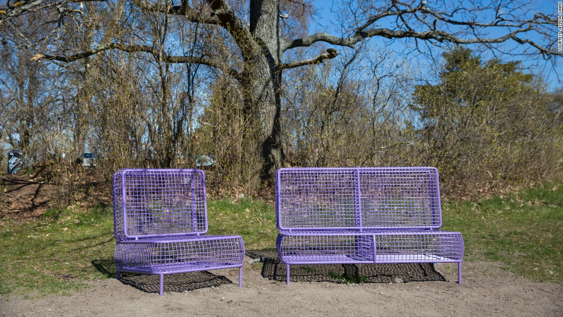 "Märta Hägglund and Sanna Gripner -- the only participating Swedish designers -- wanted to develop comfortable seating to encourage visitors to linger. Their ""Cushy"" bench is inspired by indoor furnishings, and features surfaces made from springy metal mesh."
