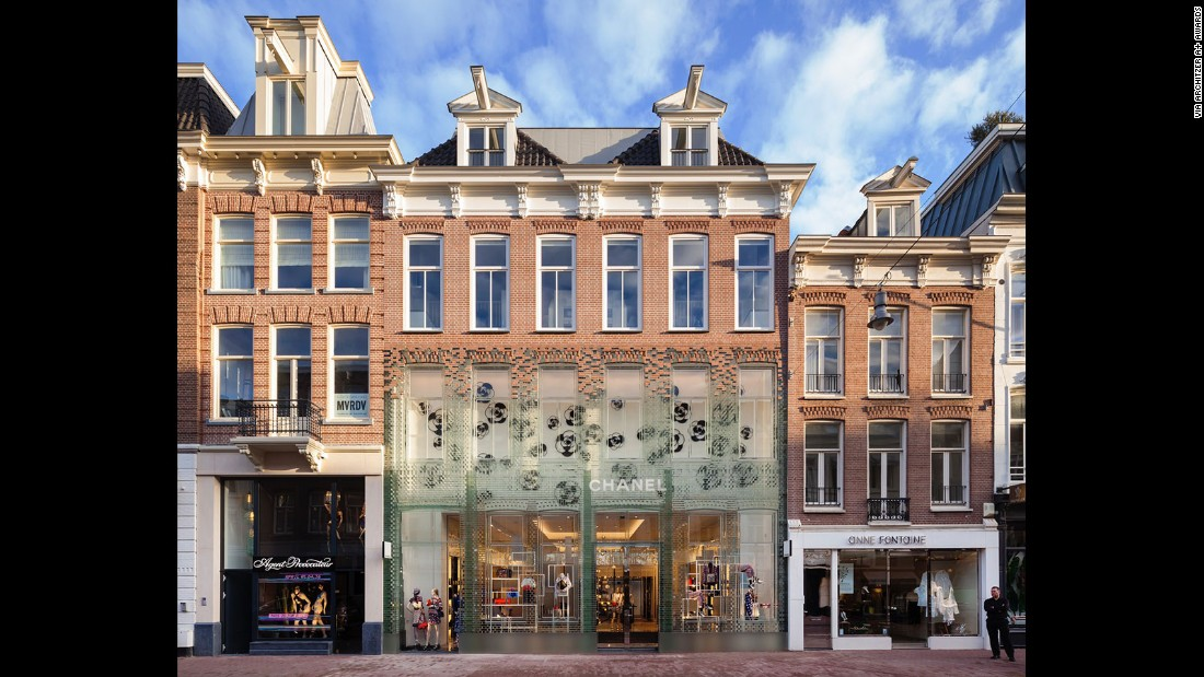 Crystal Houses, built in 2016, is a design by Netherlands-based architecture firm MVRDV. Glass bricks are used in the façade of the Chanel boutique in Amsterdam.