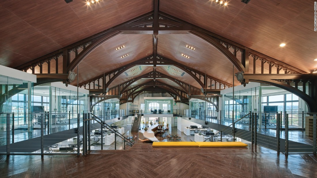 Masonic buildings are located all over the world, but few are as striking as this new office space from acclaimed architecture firm Gensler -- which keeps the old facade and transforms the interior into a new kind of work space.