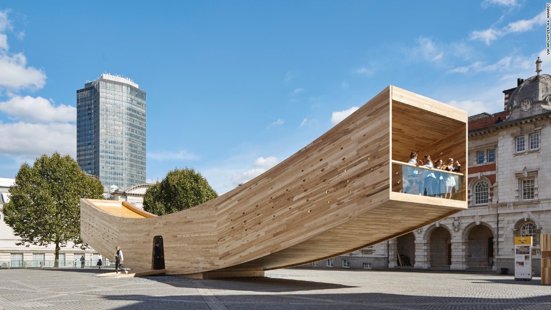 "The Smile, designed by London-based Alison Brooks Architects, was one of <a href=""http://edition.cnn.com/2016/09/19/design/london-design-festival-the-smile-clt/"" target=""_blank"">2016's Landmark Projects</a> at the London Design Festival. It showcases the structural and spatial potential of cross-laminated American tulipwood, which is stronger than concrete, and can also be machined to incredibly high tolerances."
