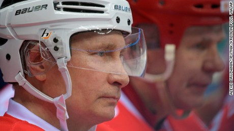 Russian President Vladimir Putin takes part in a gala match of the Night Hockey League teams in the Bolshoy Ice Arena in the Black Sea resort of Sochi, Russia, Wednesday, May 10, 2017. (Alexei Druzhinin/Sputnik, Kremlin Pool Photo via AP)