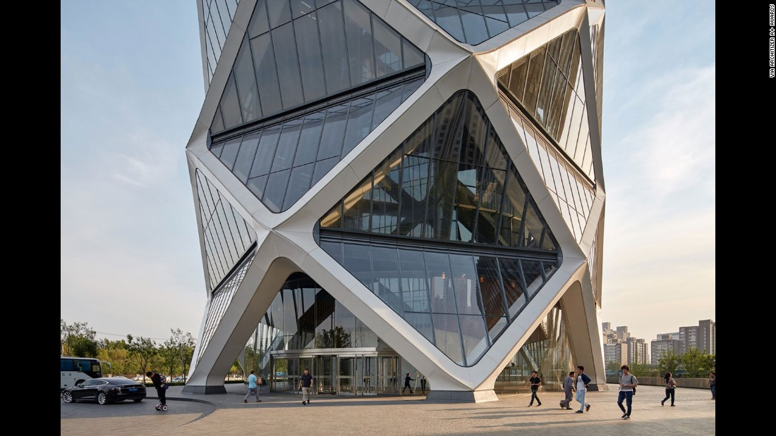 "Completed in Beijing in 2016, Poly International Plaza is a visual feat by the structural engineering and architecture groups of Skidmore, Owings & Merrill (SOM). Its zigzagging ""diagrid"" allows for an open, column-free work environment."