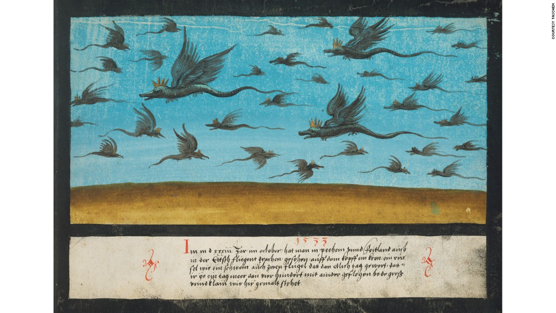A 1533 depiction of dragons flying over Bohemia (part of the modern Czech Republic).
