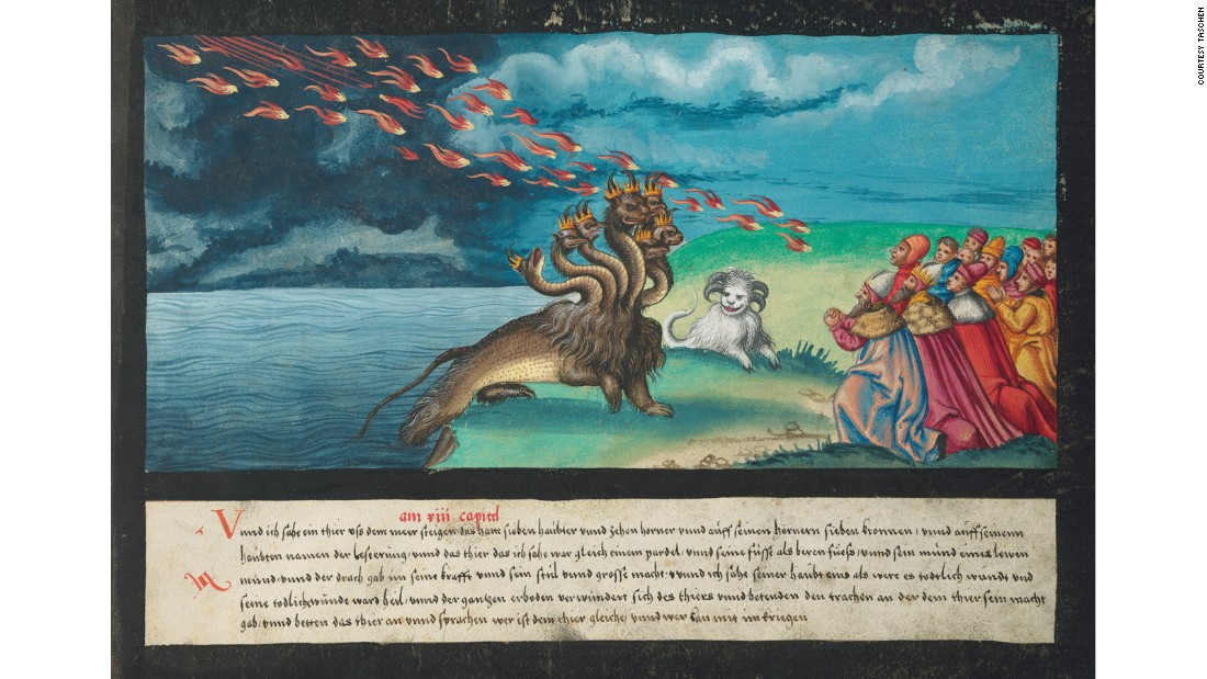 The sea monster and the beast with the lamb's horn, both of which feature in the Book of Revelations.