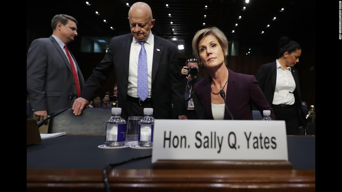 "Former acting Attorney General Sally Yates and former Director of National Intelligence James Clapper, center, prepare to testify to a Senate subcommittee in Washington on Monday, May 8. It was <a href=""http://www.cnn.com/2017/05/08/politics/sally-yates-senate-testimony/"" target=""_blank"">a high-profile hearing</a> on Russian meddling into the US election. <a href=""http://www.cnn.com/2017/05/08/politics/sally-yates-hearing-russia-things-we-learned/"" target=""_blank"">Five things we learned from the hearing</a>"