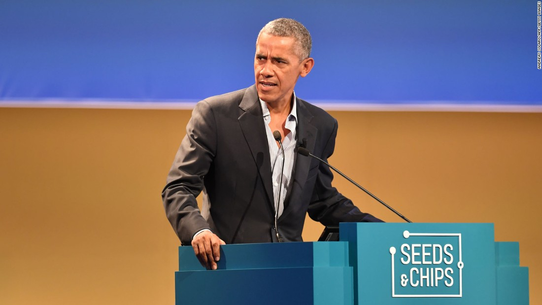 "Former US President Barack Obama delivers a speech Tuesday, May 9, at Seeds & Chips, a summit in Milan, Italy, that focused on climate change and food availability. Obama<a href=""http://www.cnn.com/2017/05/09/politics/obama-climate-change-paris-agreement-italy/"" target=""_blank""> defended the Paris Agreement on climate change</a> and said that the United States must show leadership and not ""sit on the sidelines."" <a href=""http://www.cnn.com/2017/05/09/politics/obama-buttons-shirts/"" target=""_blank"">His casual unbuttoned style</a> also grabbed some people's attention."