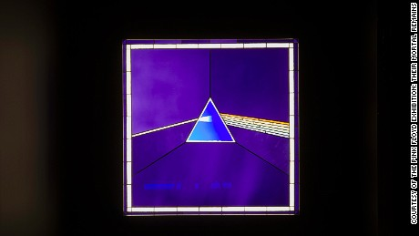 "Pink Floyd's ubiquitous album cover ""Dark Side of the Moon"", on display at the Victoria and Albert Museum."