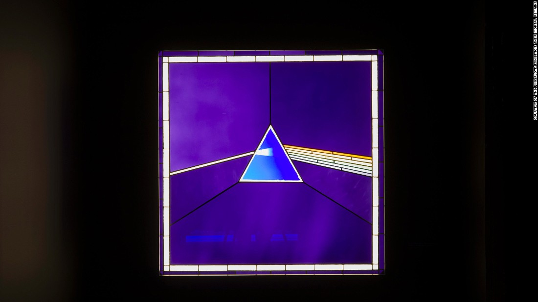 "Pink Floyd's ""Dark Side of the Moon"" album cover on display at the Victoria and Albert Museum."