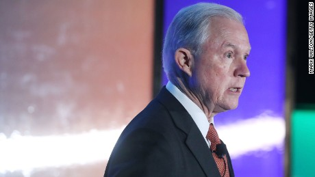 WASHINGTON, DC - APRIL 24:  U.S. Attorney General Jeff Sessions speaks during the 2017 Ethics and Compliance Initiative conference at the Marriott Marquis hotel on April 24, 2017 in Washington, DC.  (Photo by Mark Wilson/Getty Images)