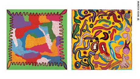 "A split screen of two paintings from Kusama's My Eternal Soul series. On the left ""Let's Go, Beyond the Sky."" On the right, ""Unbearable Whereabouts of Love"""