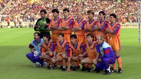 Barcelona Team Group. (Back Row L-R) Andoni Zubizarreta, Nando, Julio Salinas, Ronald Koeman, Michael Laudrup, Hristo Stoichkov, Eusebio Sacristan, (Front Row L-R) Jose Mari Bakero, Albert Ferrer, Josep Guardiola, Juan Carlos