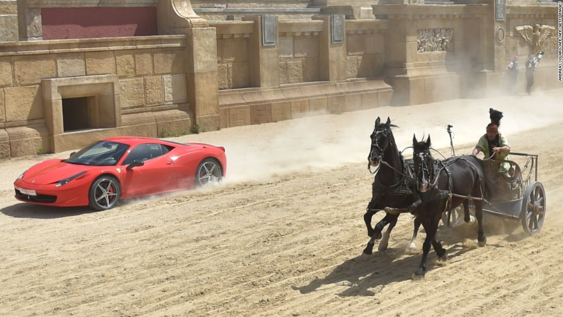 Ferrari races a horse-drawn chariot on Ben Hur set - CNN.com