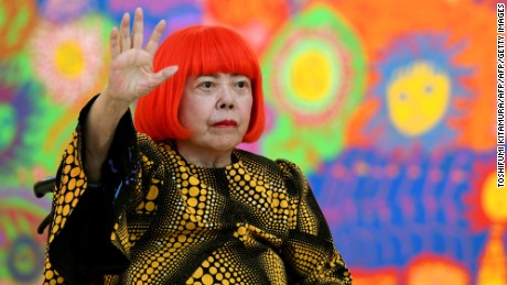Yayoi Kusama attends her 'My Eternal Soul' exhibit in Tokyo