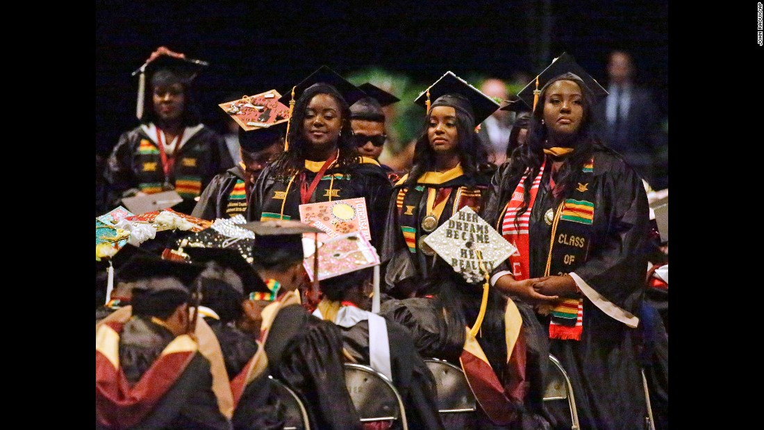 "Students <a href=""http://www.cnn.com/2017/05/10/politics/betsy-devos-bethune-cookman-commencement-protest/"" target=""_blank"">turn their backs on Education Secretary Betsy DeVos</a> as she delivers a commencement speech Wednesday, May 10, at Bethune-Cookman University in Daytona Beach, Florida. DeVos was also met with some boos, and at times hecklers drowned out her remarks."