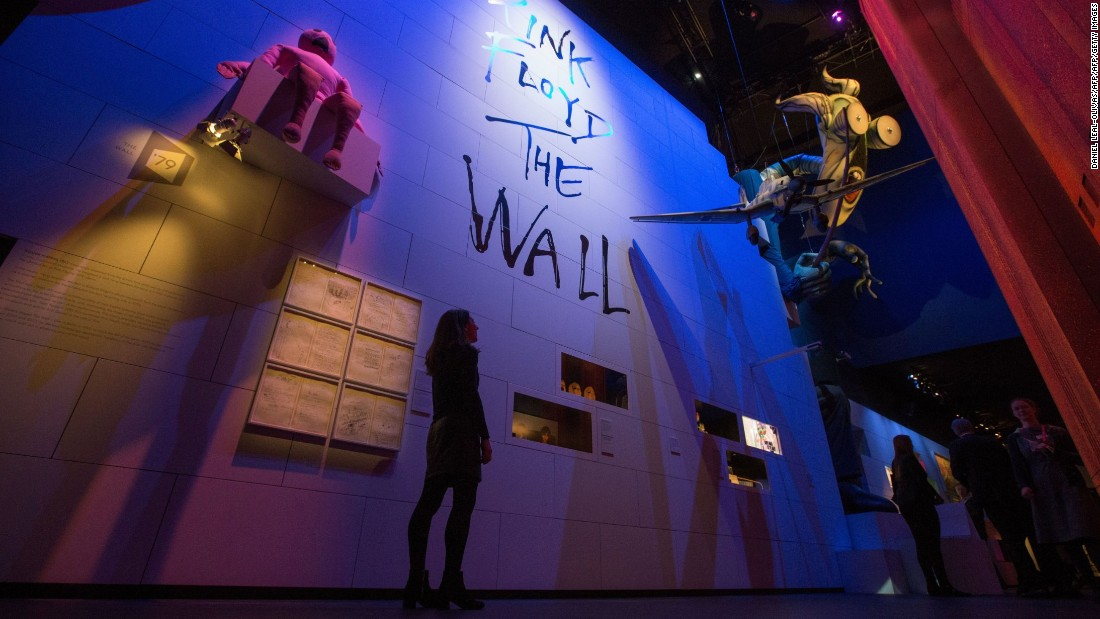 "An artwork installation of Pink Floyd's album, ""The Wall."""