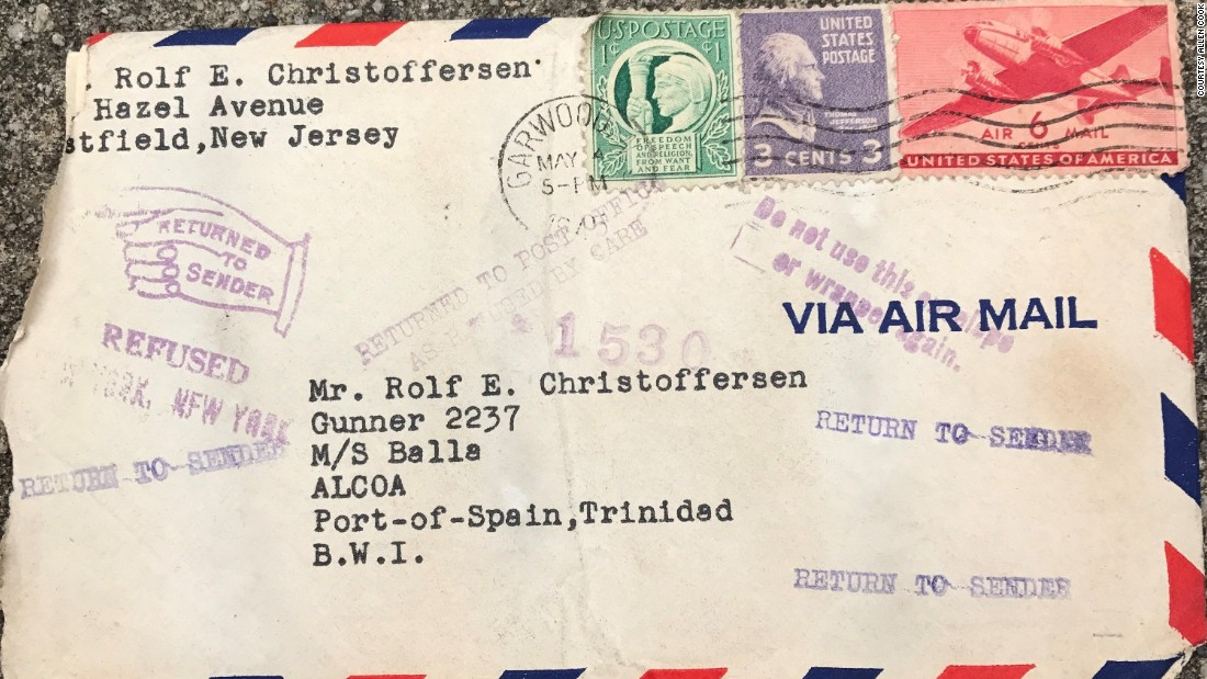 Allen Cook and his daughter, Melissa, found this envelope in the ceiling while renovating her house. It contained a letter typewritten in 1945.