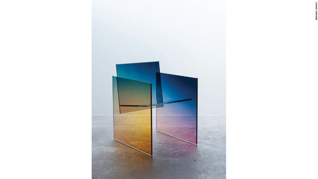 """Separately, ombre and glass are both huge trends in design. But somehow Latvian-born, Amsterdam-based designer <a href=""http://www.germansermics.com/"" target=""_blank"">Germans Ermics</a> combines the two to make something entirely fresh and beautiful — gradient mirrors, ombre shelves, and Kuramata-inspired chairs that darken from blue to the deepest purple. We've been tracking him for two years, and he's always surprising us."""