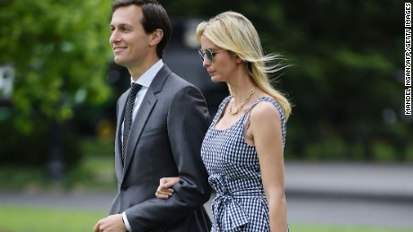 Jared Kushner and Ivanka Trump make their way across the South Lawn to board Marine One at the White House in Washington, DC on May 4, 2017. (MANDEL NGAN/AFP/Getty Images)