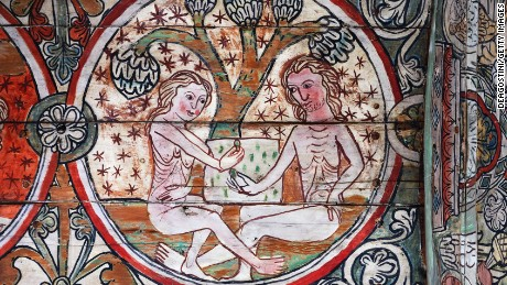NORWAY - OCTOBER 06: Adam and Eve in the Garden of Eden, decoration from the Al Stavkirke (stave church), fresco. Norway, late 13th century. Oslo, Kulturhistorisk Museum Universitetet I Oslo, Historisk Museum (History Museum) (Photo by DeAgostini/Getty Images)