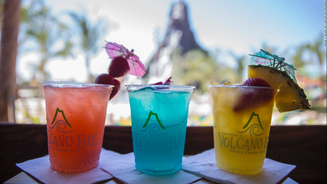 <strong>Tropical drinks:</strong> Guests may order frozen drinks, specialty cocktails, fountain sodas and draft beers from the park's four restaurants and two bars.