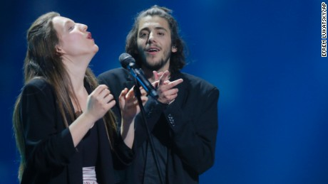 "Salvador Sobral from Portugal, right, performs the song ""Amar pelos dois"" with his sister Luisa after winning the Final of the Eurovision Song Contest, in Kiev, Ukraine, Saturday, May 13, 2017. (AP Photo/Efrem Lukatsky)"