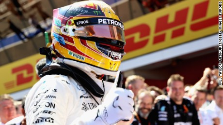 Lewis Hamilton celebrates his epic victory in the Spanish Grand Prix for Mercedes.