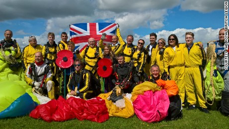 Eight family members from three different generations completed the jump alongside Hayes.