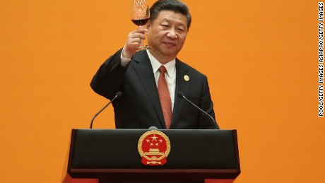 Chinese President Xi Jinping makes a toast during a welcome banquet for the Belt and Road Forum at the Great Hall of the People in Beijing.