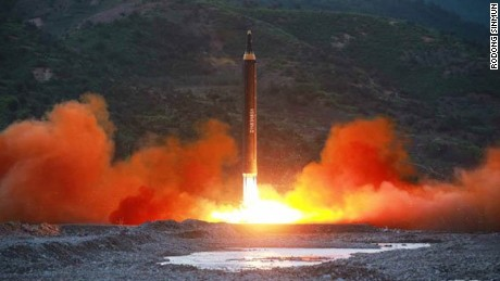 An image from North Korean state media Rodong Sinmun shows Sunday's missile launch.