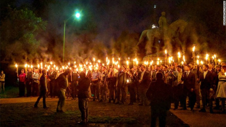 Torches brought to Confederate statue protest (May)