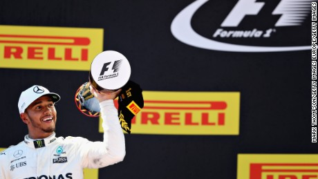 MONTMELO, SPAIN - MAY 14:  Race winner Lewis Hamilton of Great Britain and Mercedes GP celebrates his win on the podium during the Spanish Formula One Grand Prix at Circuit de Catalunya on May 14, 2017 in Montmelo, Spain.  (Photo by Mark Thompson/Getty Images)