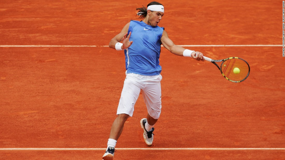 By the following year, Nadal had cemented his place among tennis' elite and was developing a fearsome reputation on clay. This time wearing a slightly less garish light blue, Nadal picked up his second consecutive French Open title by becoming the first man to beat Roger Federer in a grand slam final.