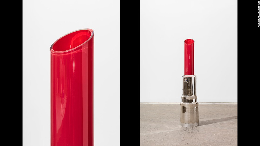 Designer Åsa Jungnelius created a series of colorful lipsticks using glass, leather and mirrors.
