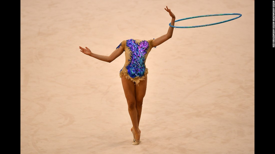 Ecem Cankaya, a rhythmic gymnast from Turkey, competes at the Islamic Solidarity Games in Baku, Azerbaijan, on Friday, May 12.