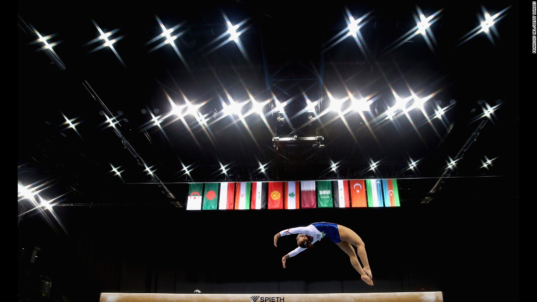 Turkish gymnast Ekin Morova competes on the balance beam Sunday, May 14, during the Islamic Solidarity Games.