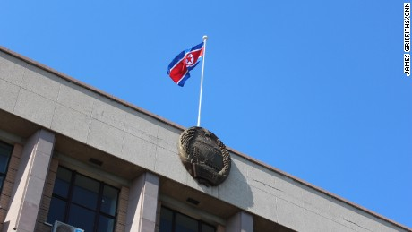 The North Korean flag flies over the country's embassy to China in Beijing on May 15, 2017.