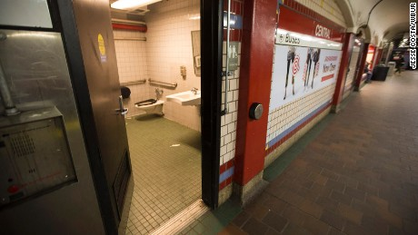 A public restroom on the platform of the Central Square MBTA station in Cambridge, Massachusetts.