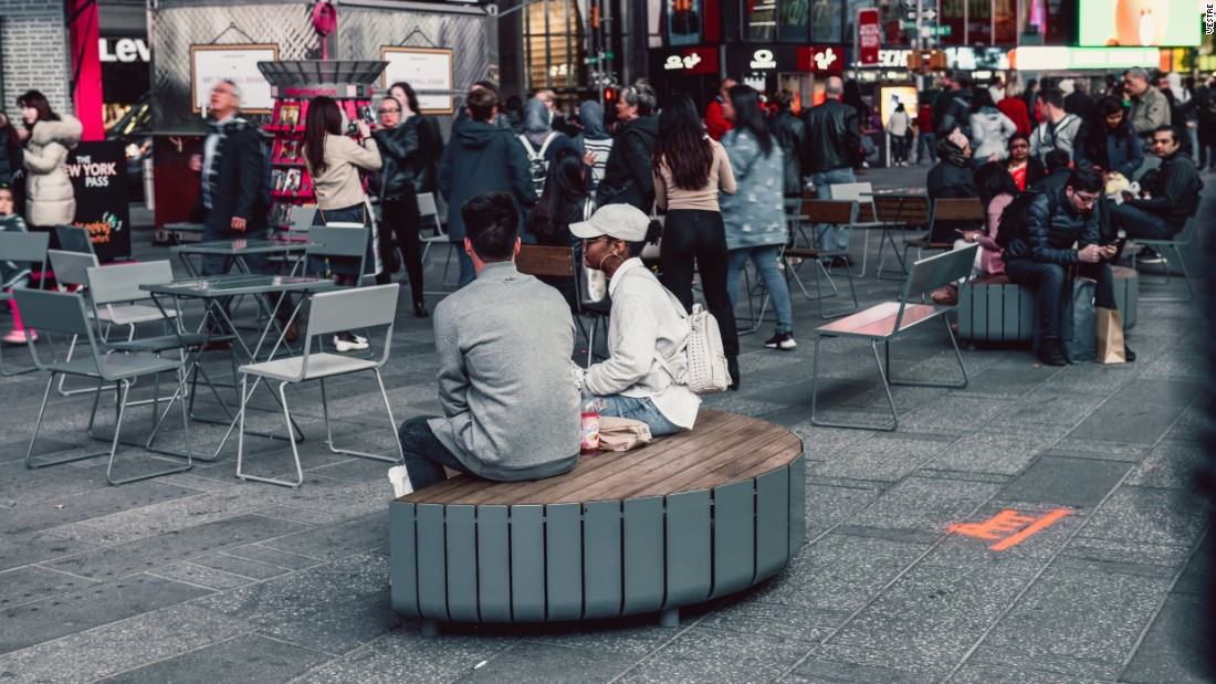 The benches were tailored to the large crowds and heavy foot traffic in Times Square.