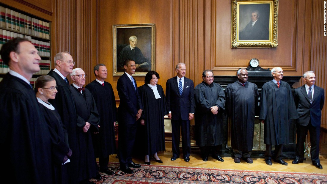 The Supreme Court meets with President Barack Obama and Vice President Joe Biden in September 2009. From left are Samuel Alito, Ruth Bader Ginsburg, Kennedy, John Paul Stevens, Chief Justice John Roberts, Obama, Sonia Sotomayor, Biden, Antonin Scalia, Clarence Thomas, Stephen Breyer and retired Justice David Souter.