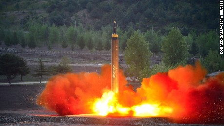 An image released from North Korea's official KCNA news agency shows the Hwasong-12 test launch. Serial number patterns have been changed, Schmerler says.